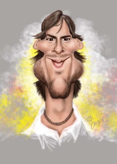Ashton Kutcher Caricature by Rick Baldwin.