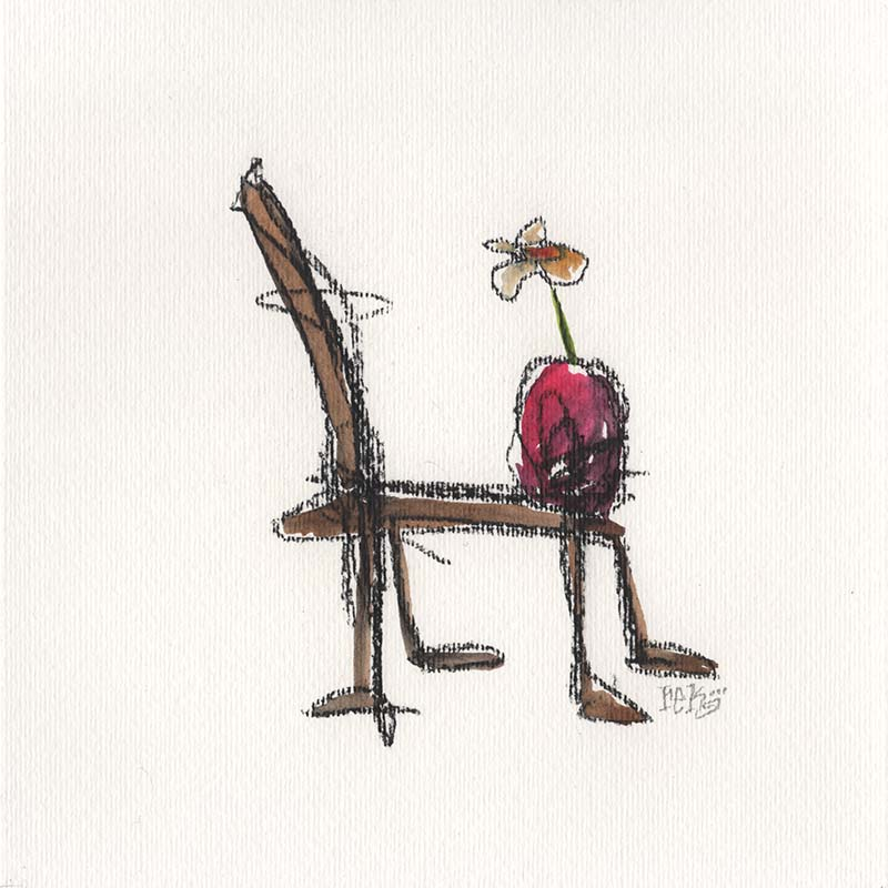 Chair And Flower fine art by Rick Baldwin.