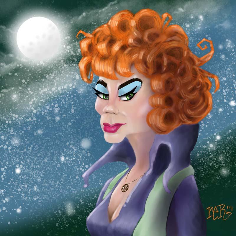 Agnes Moorehead as Endora Caricature by Rick Baldwin
