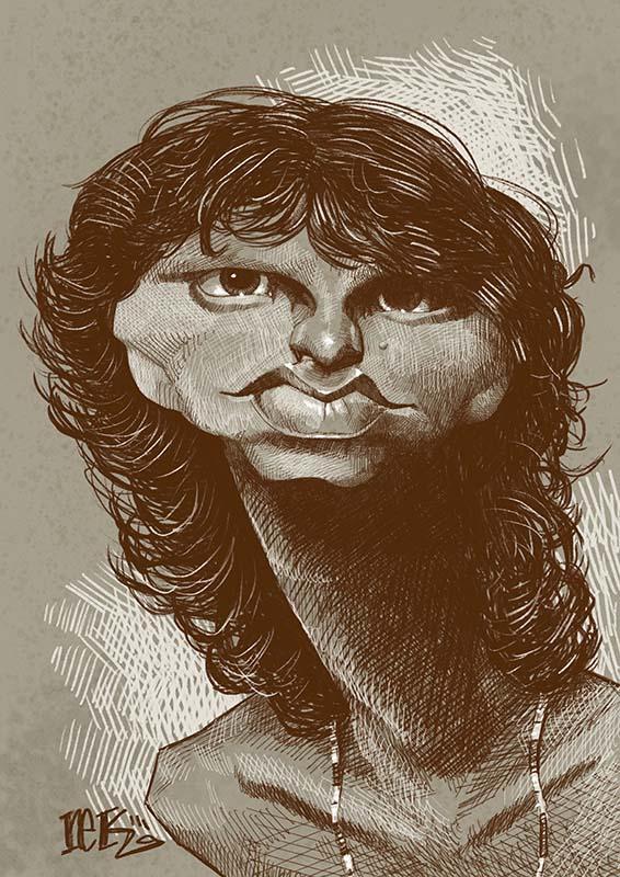 Jim Morrison caricature by Rick Baldwin.