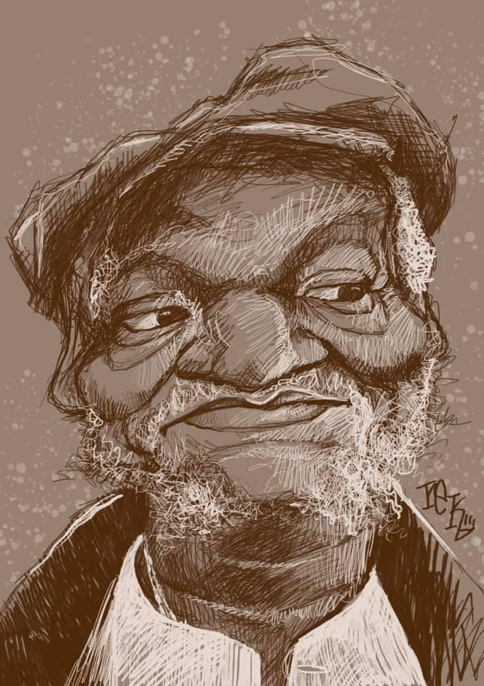 Redd Fozz caricature sketch by Rick Baldwin.